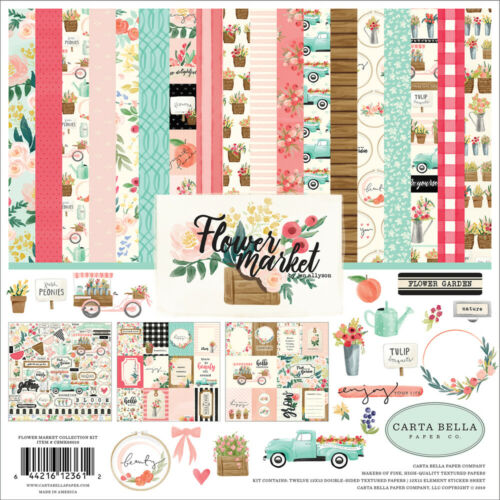 "New Carta Bella FLOWER MARKET 12/"" x 12/"" Kit Scrapbook Paper Spring Flowers"
