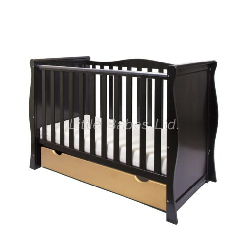 Drawer OPTIONAL MATTRESS LIMITED EDITION Baby Black /& Gold Sleigh Mini Cot Bed