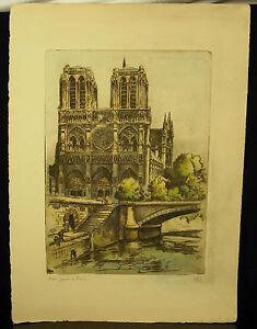 Cathedral-Our-Lady-de-Paris-1942-Signed-per-Marcel-Bessan