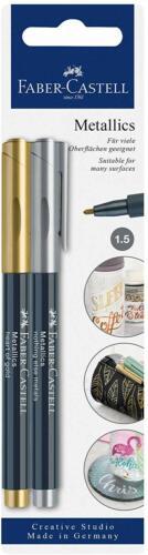 Gold multicoloured metallic pen Silver Faber Castell Metallic 1.5 marker pens
