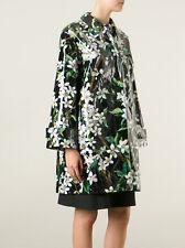 New DOLCE & GABBANA Back / White Flowers Print Coat  UK 12 / IT40 RRP£ 2200.00