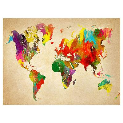 NEW Arthouse Brights World Map Canvas Wall Art 57cmx77cm