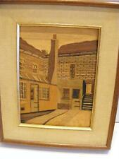 Vtg MARQUETRY WOOD INLAY FRAMED PICTURE WALL SIGNED HOLLAND House Architecture