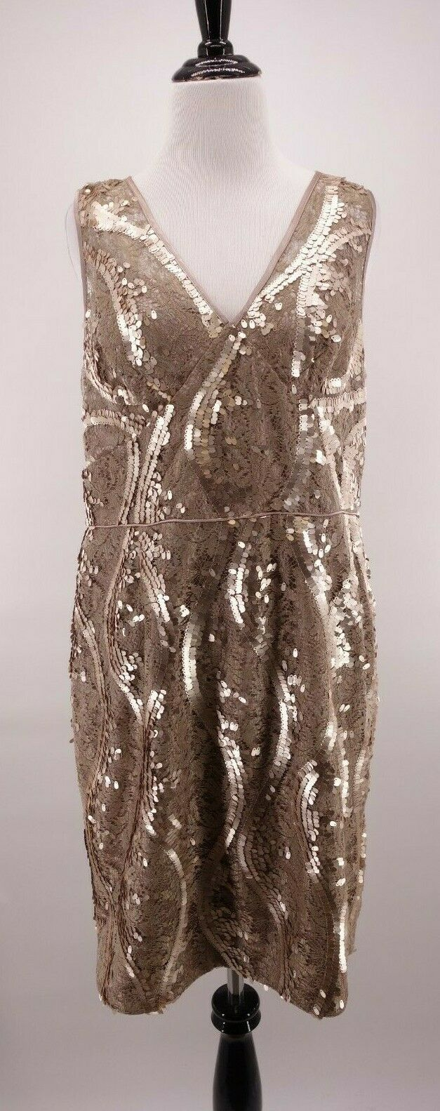 Adrianna Papell 14 Victorian Lace Gold Sequin Formal Party Sheath Dress Gown