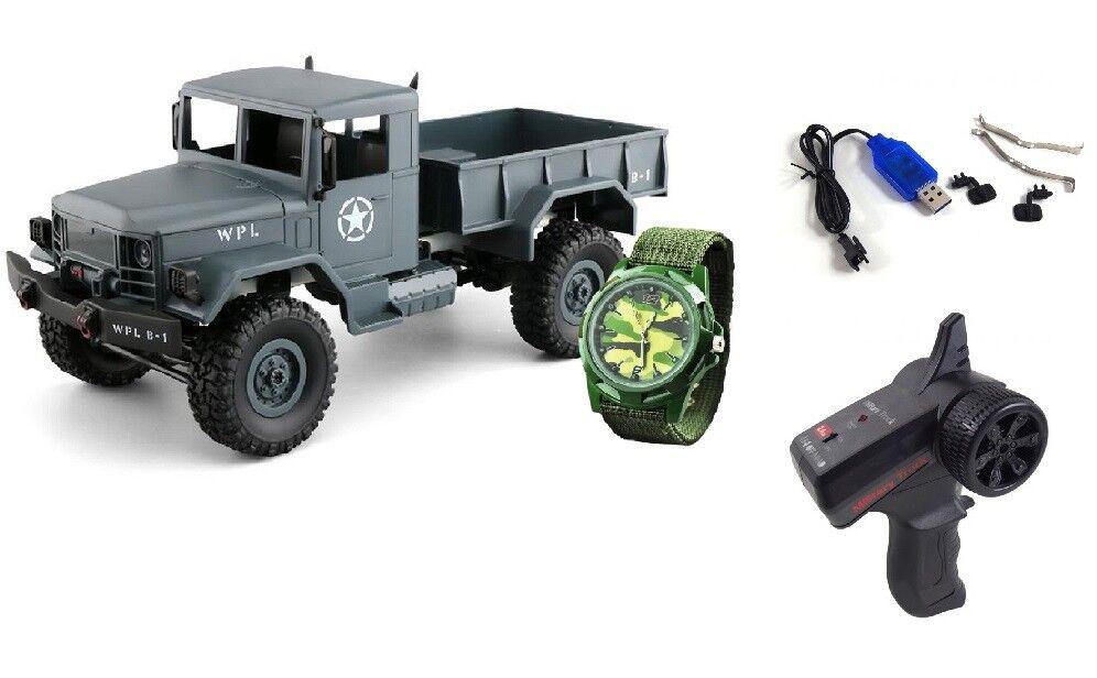 RC RC RC U.S. Militär Truck 4WD 1 16 RTR grau + Uhr inkl Akku und Ladegerät 6b7426