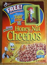 """VITAGE 1999 HONEY NUT CHEERIOS CEREAL BOX W/ TOY STORY 2 """"WOODY"""" DANGLER. (FLO)"""