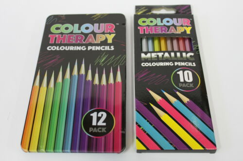12 COLOURING /& 10 METALLIC COLOUR THERAPY RICH SMOOTH QUALITY ARTIST PENCIL SETS
