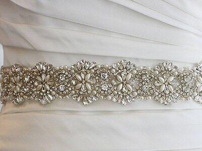 "Wedding Dress Bridal Sash Belt - Crystal Pearl Wedding Sash Belt=17 1/2"" Long"