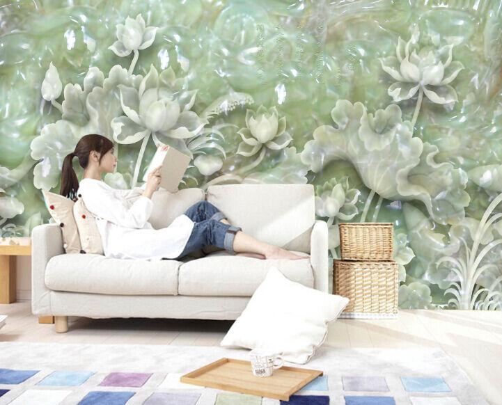 3D Jade, Lotusblatt 30445 Fototapeten Wandbild Fototapete BildTapete Familie DE