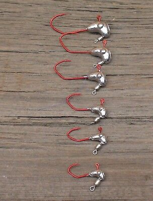 100-1//4   JIG HEADS WITH #2  RED SICKLE HOOK