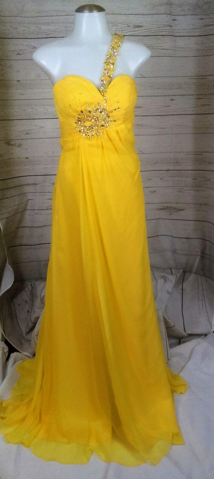 Crush Prom Womens Prom Pageant Evening Dress Dress Dress Sz 2 Yellow 1 Shoulder New B9 117 ab82d6