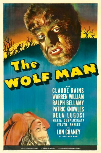 "The Wolf Man Bela Lugosi Vintage Horror Silk Fabric Movie Poster 24/""x36/"""