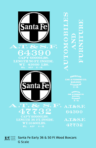 K4 G 1:29 Decals Santa Fe 36 Ft and 50 Ft Wood Boxcar White