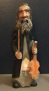 "Antique Old Jewish Men Violin Player Wooden Figurine Statue 9""3"