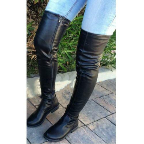New Women/'s Low Heel Over The Knee Stretch Leg Thigh High Boots Fashion Casual L