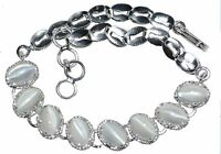 Moonstone Cats Eye Sterling 925 Silver Bracelet Genuine Gems Birthstone Jewelry