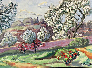 Watercolour-Provence-Landscape-Provencal-Signed-D-Homage-France