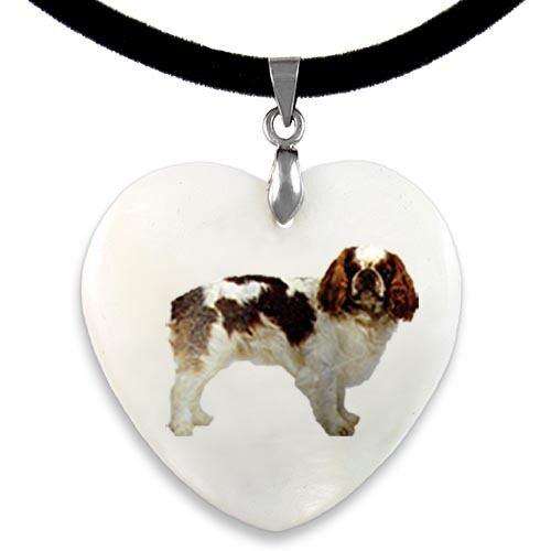 Cavalier King Charles Spaniel Mother Of Pearl Heart Pendant Necklace Chain PP240