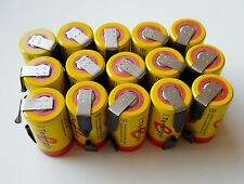 15 Tenergy SC 20300 NiCd Sub C 2200 mAh Batteries with Factory Installed Tabs