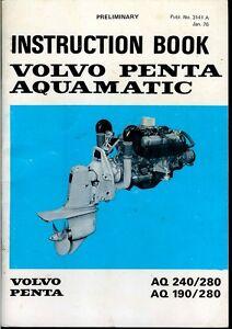 volvo penta aquamatic inboard marine engine motor owner s rh ebay com volvo penta 280 leg workshop manual volvo penta 280 drev manual