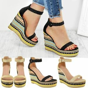 Womens-Ladies-Black-Wedge-Platforms-Sandals-High-Heels-Party-Summer-Shoes-Size