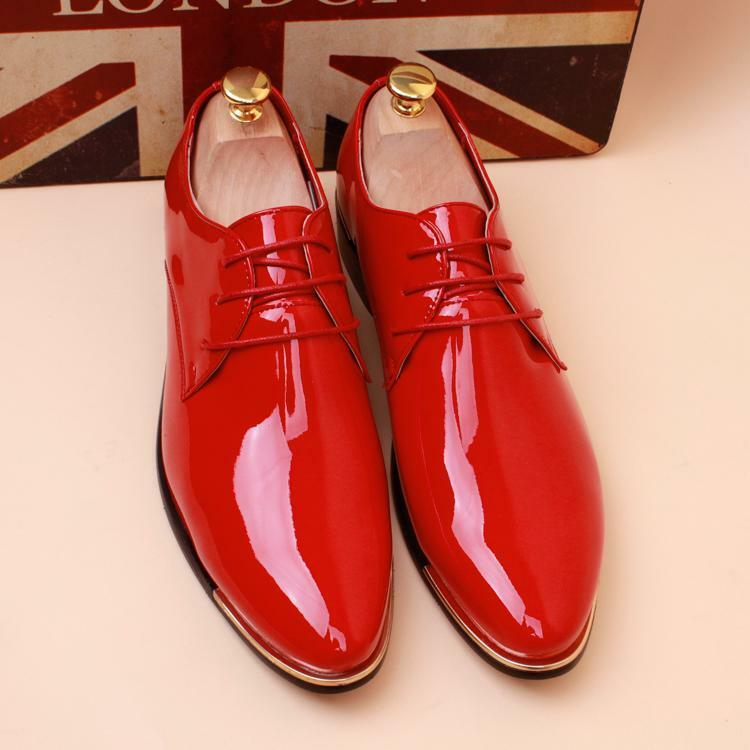 Mens Pointy toe lace up Patent Leather Wedding Formal Dress shoes