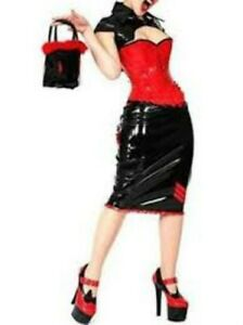 pvc black  red military uniform dress corset skirt coat 3