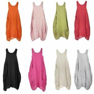 Women-Italian-Lagenlook-Pocket-Plain-Sleeveless-Linen-Midi-Tulip-Dress-Plus-Size