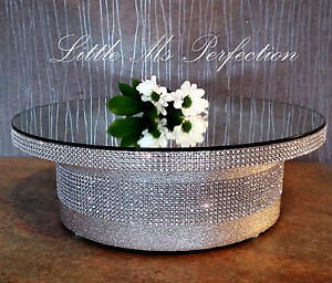 round square gold silver mirror top diamante effect wedding cake