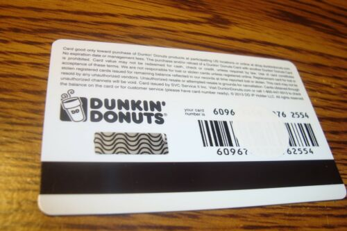 DUNKIN DONUTS DDPERKS GIFT CARD NO VALUE-Never Used or Activated Collectable