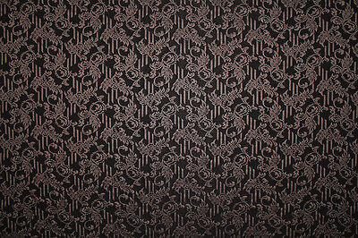 Mid Weight Poly Jersey Abstract Leaf Print Dress Fabric Material (Dark Brown)