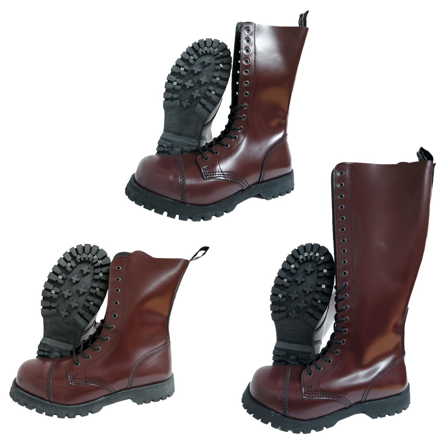Stiefel & Braces Oxblood Bordeaux Burgund Rangers Stiefel 10 14 20 Hole Steel Toe