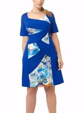 XTWO Women's Dress Jerzy Stretch Blue Butterfly Print Plus Sz 10 Short Sleeves
