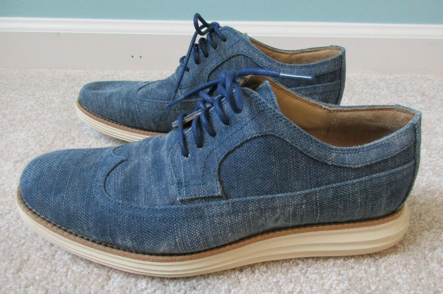 Cole Haan Lunargrand Long Wingtip Marine bluee Canvas Oxford C13969 Men's Sz 8.5M