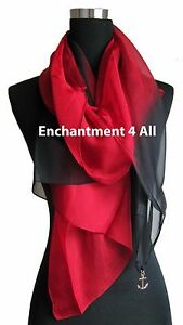 New Shaded 100% Pure Silk Oblong Scarf Shawl Wrap, Red/Black