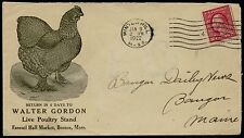 "1922 ADVT ""WALTER GORDON, LIVE POULTRY STAND, FANEUIL HALL BOSTON COVER BQ2532"