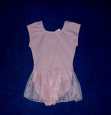 GIRLS PINK BLING DANCE SKATE GYMNASTICS LEOTARD OUTFIT SIZE 8 - 10 MEDIUM NWT