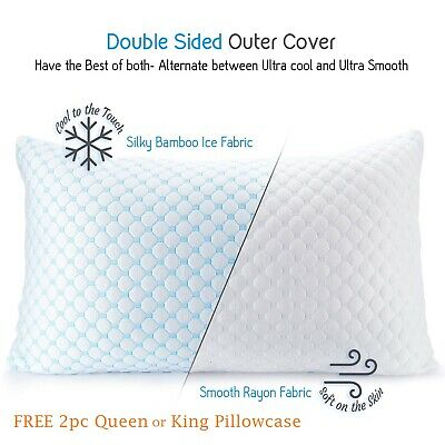 2 PACK Memory Foam Bamboo Gel Pillow by Clara Clark Available in King or Queen