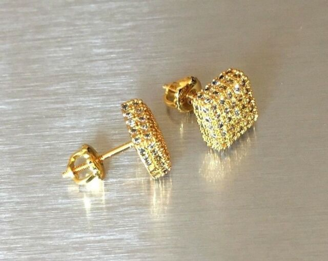 Mens & Ladies 18K Gold Finish 0/05 ct. Lab Diamond VS1 Screw Back Stud Earrings