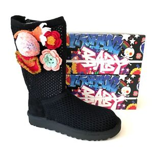 d0faa7adc54 Details about UGG Crochet Classic Women's Side Crochet Floral Boots Black  Model 1095270 Size 6