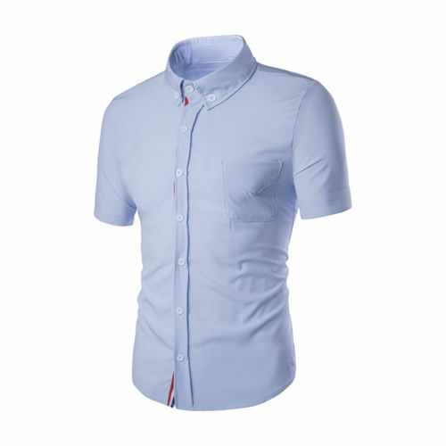 Fashion Men/'s Cotton Short Sleeve Solid Casual Button-Down Shirt Tops  Summer