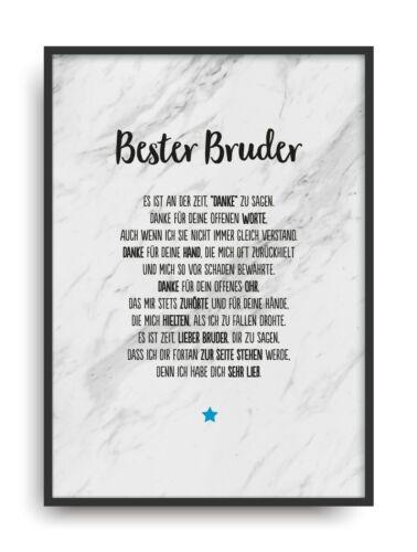 Geschenk Karte BESTER BRUDER Kunstdruck Ehrentitel Geschwister Auszeichnung Bild