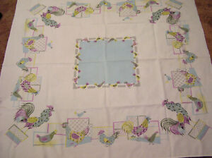 Vtg-Tablecloth-Pastel-CHICKENS-Roosters-Lavender-Blue-Yellow-NICE