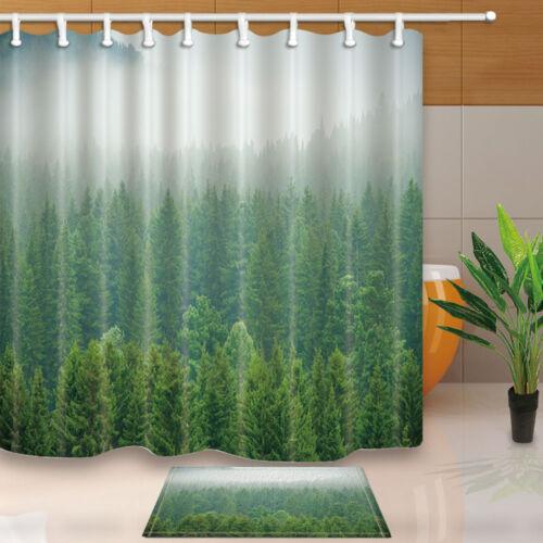 Fog of the Forest Fabric Shower Curtain Liner Bath Mat Bathroom Decor Hooks Set