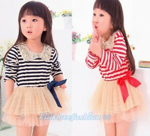 Girls striped dress with sequin collar amp bow blue red 12months 4t