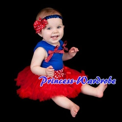 Royal Blue Top 3-12M Newborn Baby Red Minnie Dots Pettiskirt Tutu Optional Acce