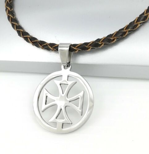 Silver Round Knights Templars Cross Pendant 3mm Braided Brown Leather Necklace