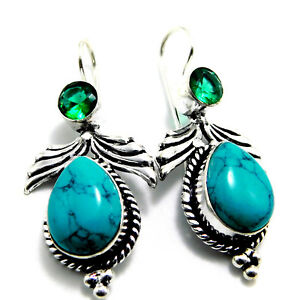 Tibetan-Turquoise-Emerald-Jewellery-925-Sterling-Silver-Plated-Earring-9-Gm