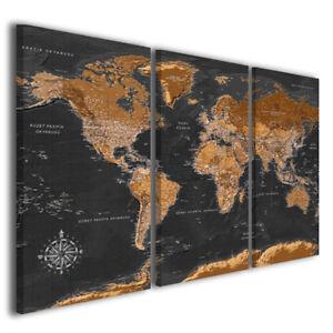 Quadro Cartina Mondo.Quadro Mappa Black Map Stampa Su Tela Mondo Arredamento Casa Moderna Ebay