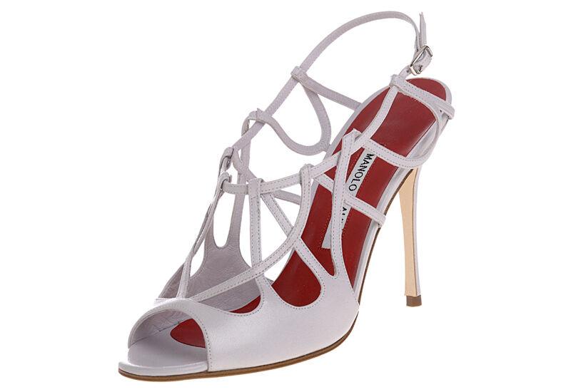 1065  New Manolo Blahnik PALMYRA Light purpleC Red Peep Toe Heels shoes 40.5